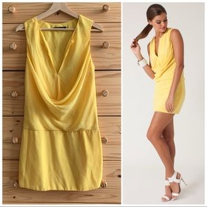 "Black Halo Yellow Cowl Neck ""Alo"" Mini Dress 2"